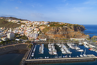 Aerial drone view of San Sebastian de la Gomera town and marina, UNESCO Biosphere Site, La Gomera, Canary Islands, Spain, Atlantic, Europe