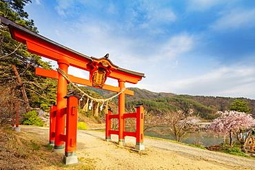 Torii gate of a Shinto shrine, Matsumoto, Nagano Prefecture, Honshu, Japan, Asia