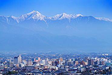 Matsumoto city and the Japanese northern alps, Nagano Prefecture, Honshu, Japan, Asia