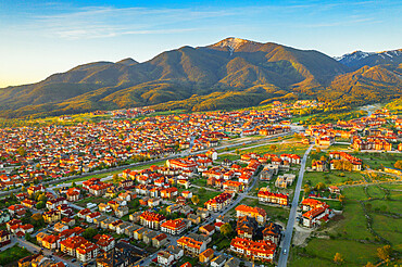Aerial view by drone of Bansko and Pirin National Park, UNESCO World Heritage Site, Bankso, Bulgaria, Europe