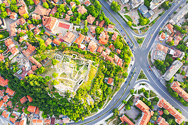 Aerial view by drone of ruins of Eumolpias, a Thracian settlement in 5000 BC, Plovdiv, Bulgaria, Europe