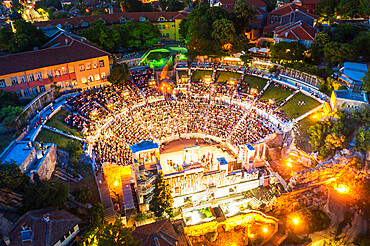 Aerial view by drone of Roman arena, Plovdiv, Bulgaria, Europe