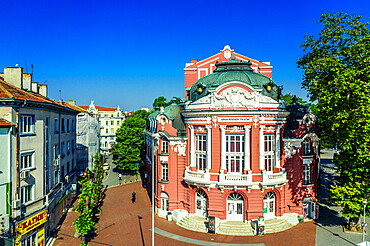 Aerial view by drone of State Opera House, Varna, Bulgaria, Europe