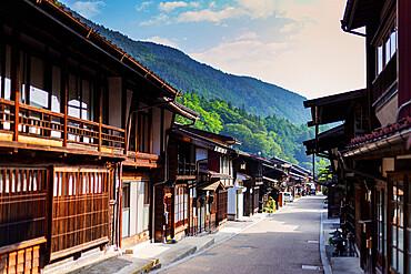 Nakasendo old post town of Tsumago, Nagano prefecture, Honshu, Japan, Asia