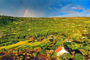 Aerial view of Kahikolu Congregation Church, Big Island, Hawaii, United States of America, North America