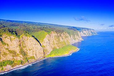 Aeriall view of Waipio valley north shore, Big Island, Hawaii, United States of America, North America