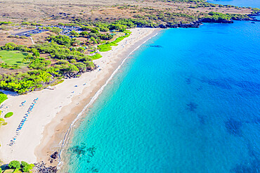 Aerial view of Hapuna beach, west coast resort, Big Island, Hawaii, United States of America, North America