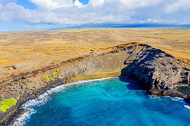 Aerial view of Green Sand Beach, Big Island, Hawaii, United States of America, North America
