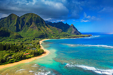 Aerial view by drone of Tunnels Beach, Haena State Park, Kauai Island, Hawaii, United States of America, North America