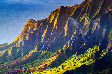 Pali sea cliffs at Kalalau lookout, Napali coast, Kokee State Park, Kauai Island, Hawaii, United States of America, North America