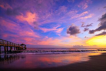 Waimea Bay State Pier at sunset, Waimea, Kauai Island, Hawaii, United States of America, North America