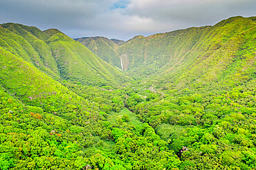 Aerial view by drone of Halawa valley, Molokai Island, Hawaii, United States of America, North America