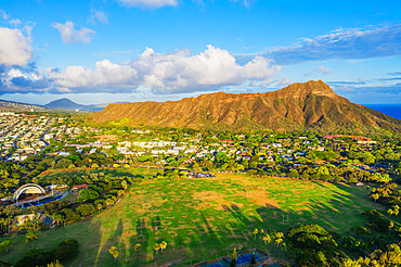 Aerial view by drone of Diamond Head, Waikiki, Honolulu, Oahu Island, Hawaii, United States of America, North America