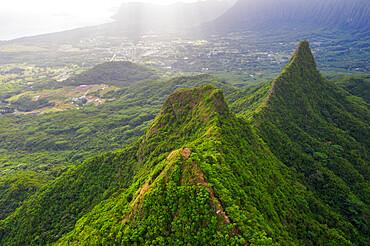 Aerial view by drone of Three Peaks trail, Oahu Island, Hawaii, United States of America, North America