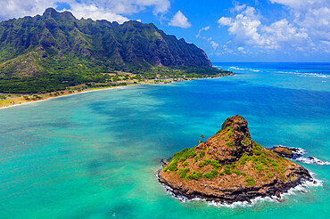 Aerial view by drone of Kaneohe Bay and Mokolii island (Chinaman's Hat), Oahu Island, Hawaii, United States of America, North America