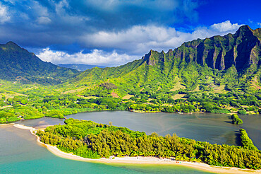 Aerial view by drone of Kaneohe Bay, Oahu Island, Hawaii, United States of America, North America