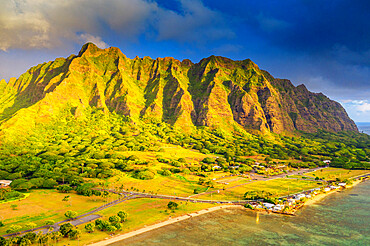 Aerial view by drone of Kaneohe Bay sea cliffs, Oahu Island, Hawaii, United States of America, North America