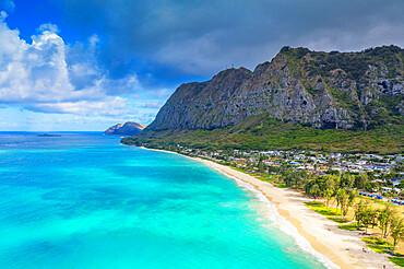 Aerial view by drone, Waimanalo beach, Oahu Island, Hawaii, United States of America, North America