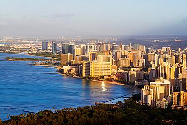 View by drone of Waikiki, Honolulu, Oahu Island, Hawaii, United States of America, North America