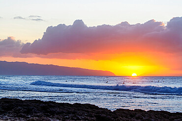 Waves on the North Shore at sunset, Oahu Island, Hawaii, United States of America, North America