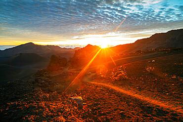 Haleakala National Park, volcanic landscape at sunrise, Maui Island, Hawaii, United States of America, North America