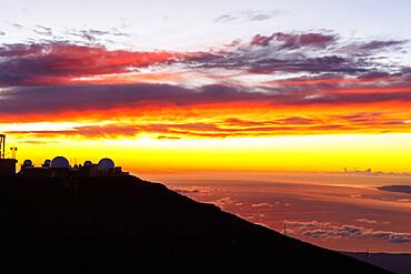 Haleakala National Park, sunset view from summit of Haleakala, Maui Island, Hawaii, United States of America, North America