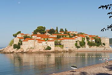 Sveti Stefan and beach, Montenegro, Europe
