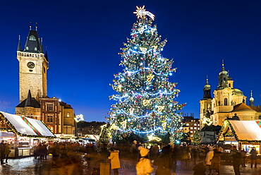 Christmas Market, Christmas tree, Gothic Town Hall and Baroque St. Nicholas Church at Old Town Square, UNESCO World Heritage Site, Old Town, Prague, Czech Republic, Europe