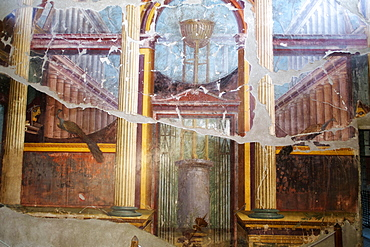 The peacock room in Emperor Nero's wife's villa Poppea Sabina (Villa Oplontis), Oplontis, UNESCO World Heritage Site, Torre Annunziata, Campania, Italy, Europe