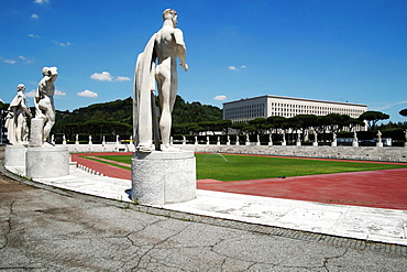 Marble Stadium built 1930 with the Farnese Palace in the back ground, Rome, Lazio, Italy, Europe