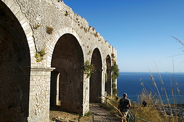 View of the Tyrrhenian Sea from the Temple of Anxur, Terracina, Lazio, Italy, Europe