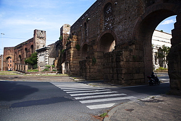 Porta Maggiore where three major aqueducts enter the city of Rome, aqueducts of Claudia, Marcio and Tepula, Rome, Lazio, Italy, Europe