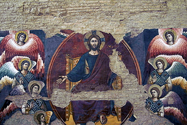Christ the Judge painted in 1293 by Pietro Cavallini at Santa Cecilia, Rome, Lazio, Italy, Europe