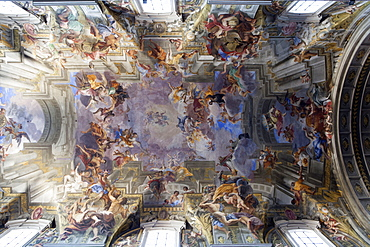 A Short Cut to Paradise, Andrea Pozzo ceiling at the church of St. Ignazio da Loyola (Ignatius of Loyola) (Church of the Gesu), Rome, Lazio, Italy, Europe