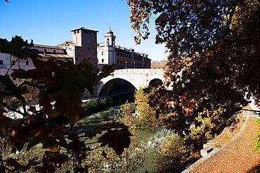 View of the oldest bridge in Rome ponte Fabricius