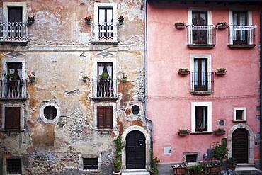 Facades in Tagliacozzo, Abruzzo, Italy, Europe