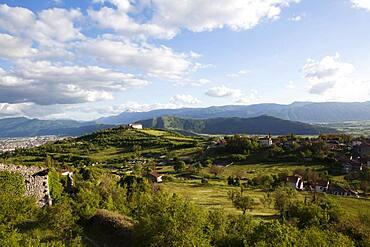 View of the Marsicana plain, Marsica, Abruzzo, Italy, Europe