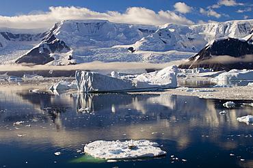 Seal on the small iceberg on foreground, Gerlache Strait, Antarctic Peninsula, Antarctica, Polar Regions