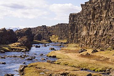 Oxararfoss waterfall on Mid-Atlantic Rift, Thingvellir National Park, UNESCO World Heritage Site, Iceland, Polar Regions