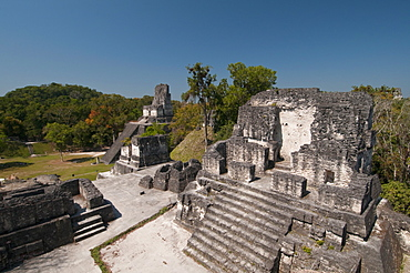 Temple II and Northern Acropolis, Mayan archaeological site, Tikal, UNESCO World Heritage Site, Guatemala, Central America