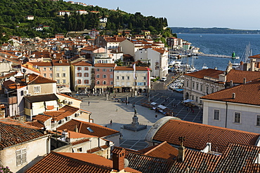 View from above of the Tartini Square, Piran, Slovenia, Europe