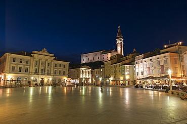 Tartini Square at dusk, Piran, Slovenia, Europe