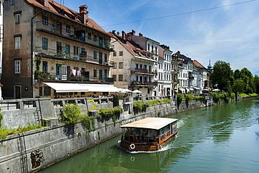 Buildings along the Ljubljanica River in the center of Ljubljana, Slovenia, Europe