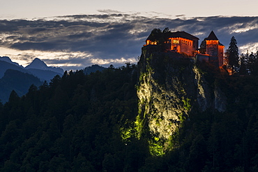 A view of Bled Castle at night, Bled, Slovenia, Europe