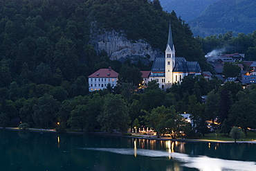 St. Martin's Church at night, Lake Bled, Slovenia, Europe