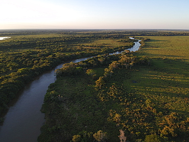 Aerial view of Rio Cuiaba, Pantanal, Mato Grosso, Brazil, South America