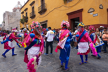 Native Dancers, Parade of Semana Santa (Holy Week), San Miguel de Allende, Mexico, North America