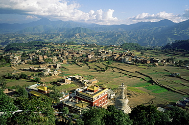Panoramic view of the Valley, Parping, Nepal, Asia