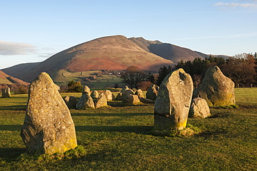 Saddlebac (Blencathra), from Castlerigg Stone Circle, Lake District National Park, Cumbria, England, United Kingdom, Europe