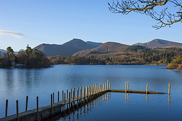 Causey Pike and Grisedale Pike from the boat landing, Derwentwater, Keswick, Lake District National Park, Cumbria, England, United Kingdom, Europe